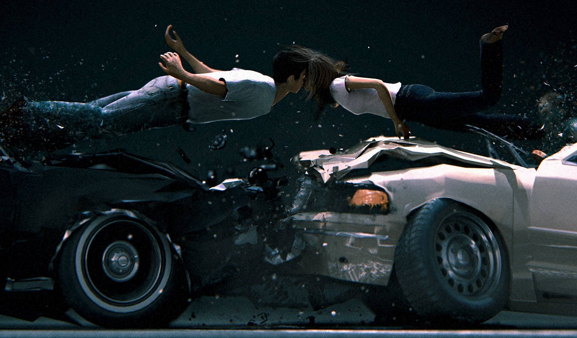 3d car crash kiss